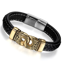 Boniskiss Male Bracelet Leather Rope Bracelets Gold Stainless Steel Vintage Bracelet Rock Men Trendy Jewelry(China)