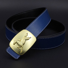 2017 Gold Horse Pin Buckle Genuine Leather Men Business Casual Belt Male Jeans Belts Black White Blue Orange Brown ZH272