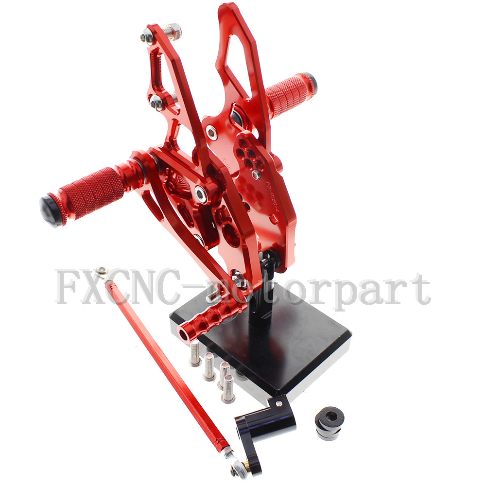 FXCNC Adjustable Rear Sets Foot Pegs CNC Aluminum Alloy Red Fit  For YAMAHA YZF R15<br><br>Aliexpress