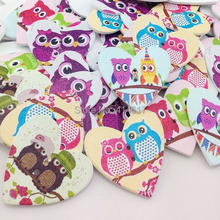 20/50/100Pcs 35 mm Wood Heart Buttons With Owl DIY Craft Scrapbook Sewing Appliques WB53