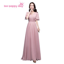 formal women v neck dresses blush color bridesmaid chiffon long dress modest bridesmaids dresses cap sleeves under 100 H4191(China)