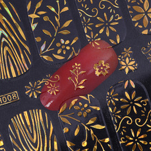 8 Sheets Gold Flower 3D Nail Stickers Set Holographic Star Circle Butterfly Adhesive Nail Foil Paper Decal