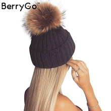 BerryGo Removable real fur pompon Warm stocking hat 2016 autumn cap winter hat female Bobble hats for women skullies beanies