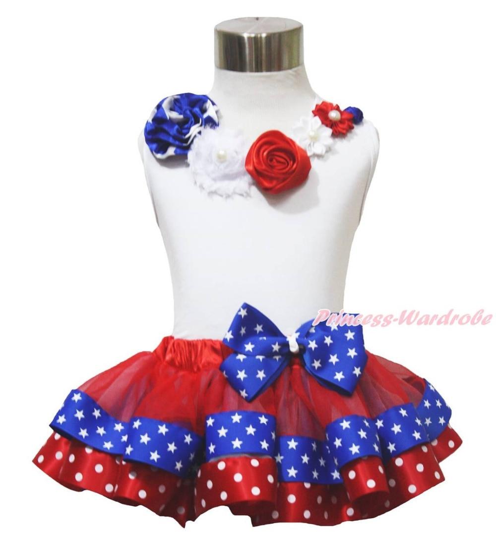White Top 4th July Vintage Garden Rose Patriotic Star Dot Satin Trim Skirt NB-8Y MAPSA0683<br>