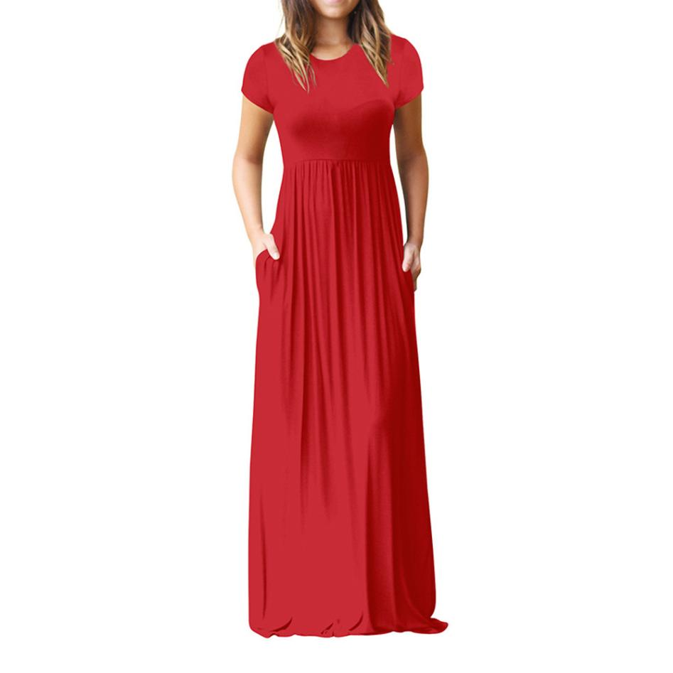 Hot Sale Floor Length Dress Women O Neck Casual Pockets Short Sleeve Loose Party Dress Vestido Longo De Festa 10