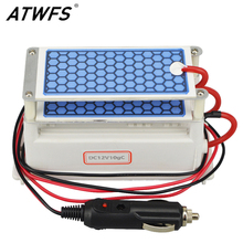 ATWFS Newest Car Portable Ozone Generator 12v 10g Ozonizer Air Cleaner Car Purifier Ozone Ceramic Plate Air Sterilizer Filter(China)