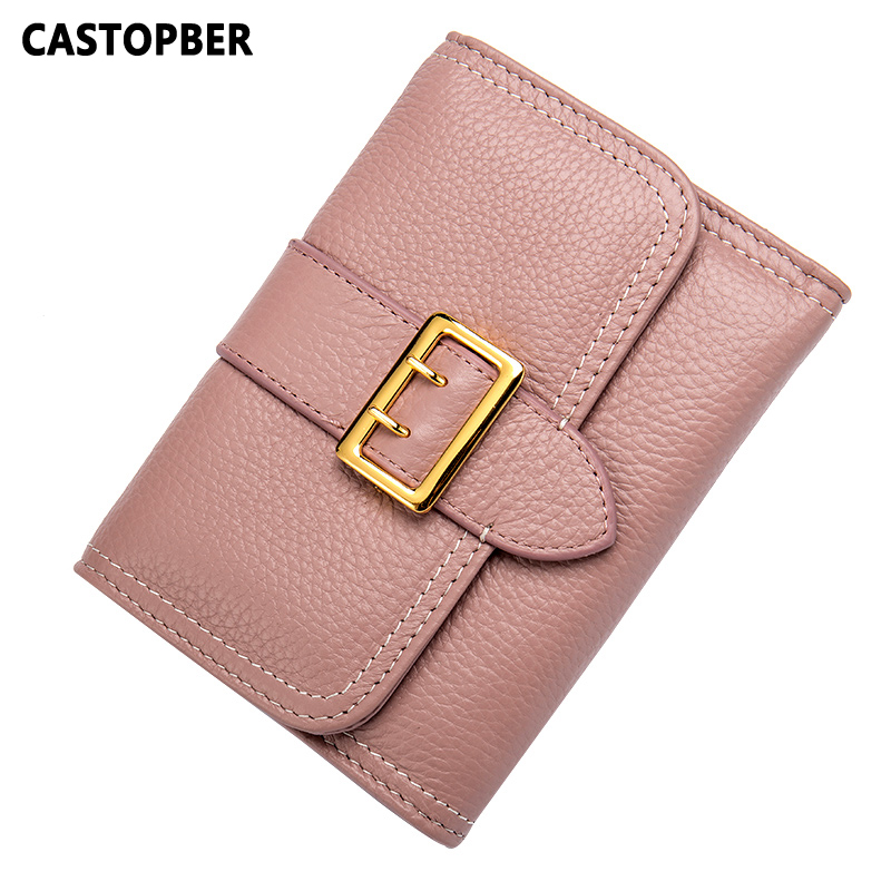 Fashion Women Genuine Leather Wallet Short Female Wallet Credit Cards Woman Mini Coin Purse 3 Fold Clutch Wallets Famous Brand<br>