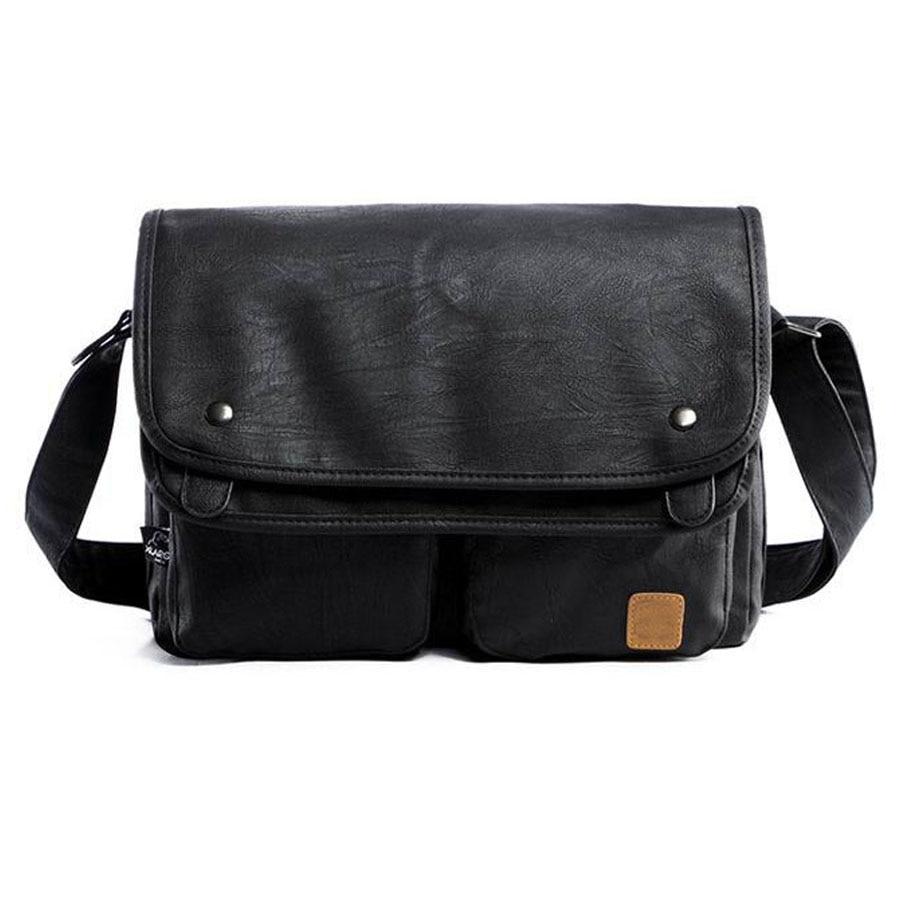 vintage men crossbody bags leather high quality men shoulder bag casual brand men messenger bags black men travel Laptop bag<br>