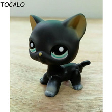 8cm Lovely Pet Collection LPS Figure Toy Black Short Hair Siamese Cat Blue Eyes #994