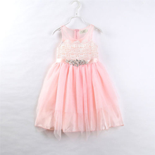 2017 New Brand Kids Baby Girls Flower Princess Tulle Dress Wedding Bridesmaid Sleeveless Dresses Ball Gown Lace Dress 1-6 Years
