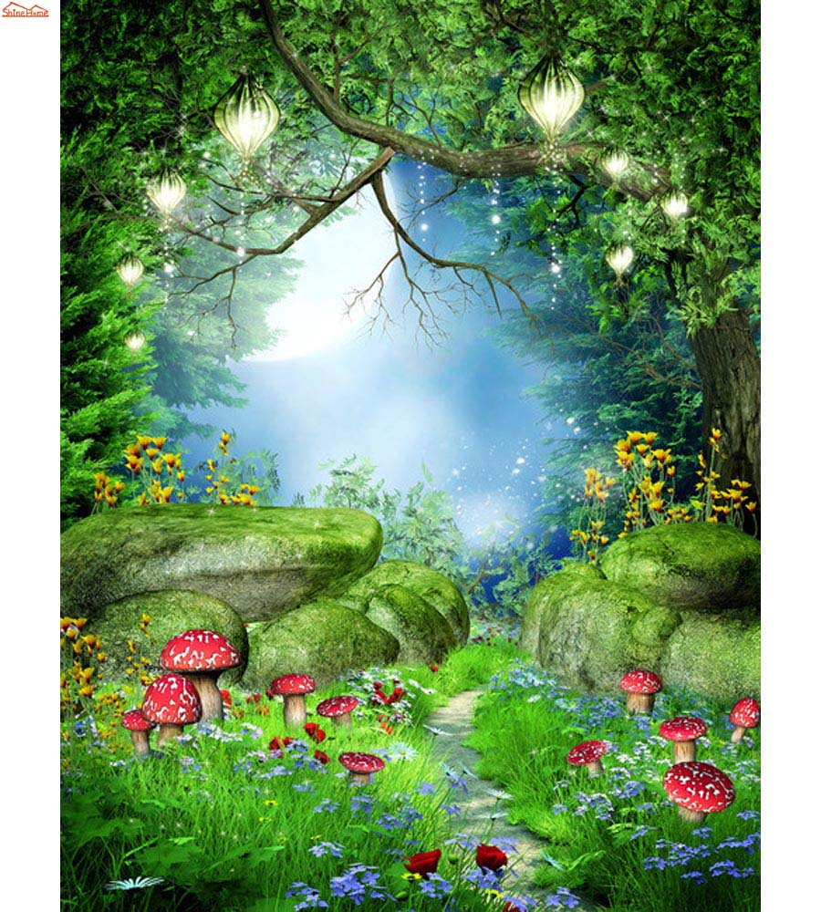 Shinehome-Natural Fantasy Forest Stone Bridge Trees Mural Rolls 3 D Wallpaper for Living Room 3D Wall Paper Roll Papel De Parede<br>