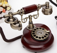 Old fashioned rotary table fashion antique rustic vintage Wood household telephone(China)