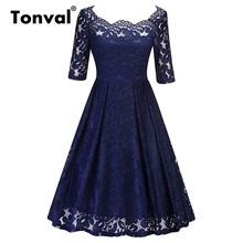Buy Tonval Floral Lace Dress Sexy Shoulder Women Half Sleeve Vintage 2018 Summer Navy Blue Evening Party Pleated Dresses for $20.99 in AliExpress store