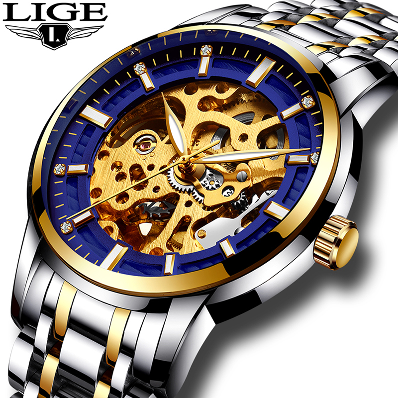 2017 Watches men full steel Skeleton Automatic mechanical watch luxury brand LIGE waterproof business dress wristwatch gold blue<br>