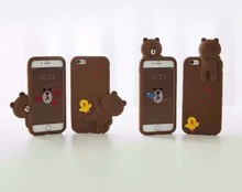 Line Friends Cute 3D Cartoon soft Stylish Silicone Case for iphone 6 6s 6 plus 7 7 Plus Soft rubber gel Back Cover Brown Bear(China)