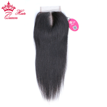 Queen Hair Products Brazilian Virgin Hair Closure 3.5x4 Middle Part Straight Natural Color Bleached Knots Swiss Lace Free Ship(China)