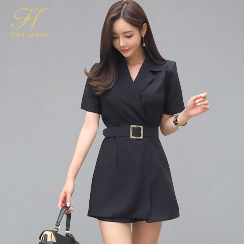 H Han Queen Summer New Notched Neck Belted Sexy Short Playsuits Women 2019 Solid Color Rompers Casual Work Wear Short Jumpsuits