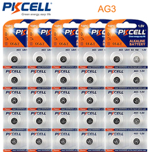 50Pcs/5card PKCELL 1.5V LR41 AG3 SR41W 392 192 GP192A LR736 Button Watch Battery Cell Cion Batteries(China)
