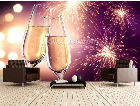 Custom modern wallpaper,Champagnerglaser Violett mit Feuerwerk,3D photo for living room kitchen restaurant bar wall wallpaper<br>