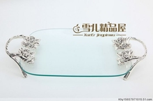 Luxury villa fashion club rose fruit plate crystal bowl rectangular with glass candy dish(China)