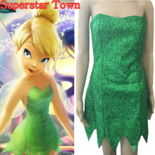 Tinkerbell Costume For Women Summer Anime Dresses Tinker Bell Cosplay Tinkerbell Dress Green Fairy Pixie Mujer Superstar Town(China)