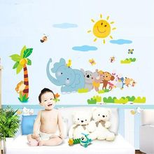 Animal cartoon Decoration Sticker Creative Wall Stickers Parlor Kids Bedroom Home Decor House Decals Wallpaper LM1003