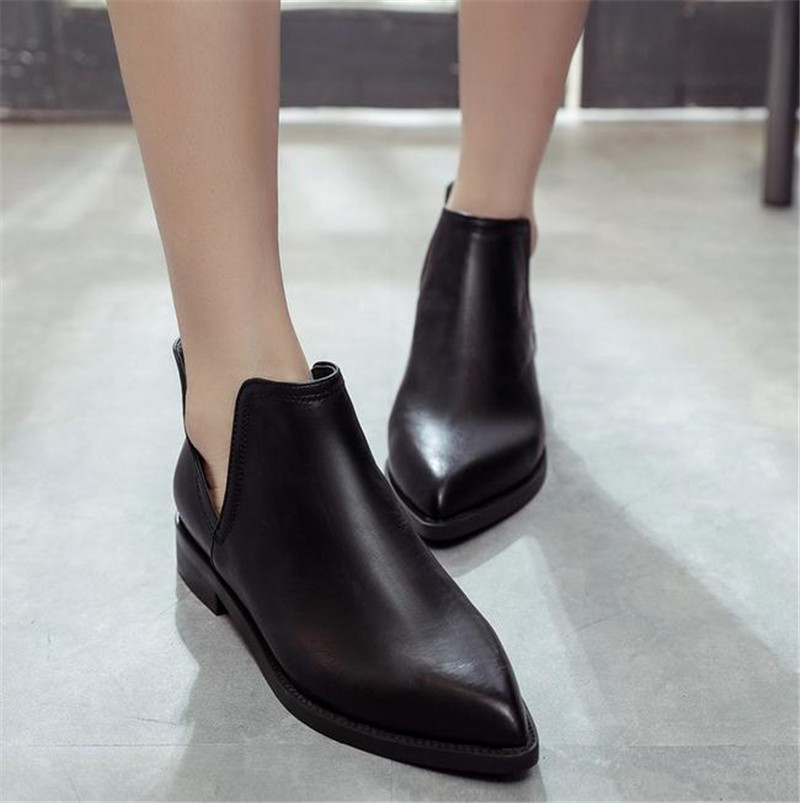 lowest price 2016 spring and autumn fashion leisure flat point single female thick with short boots shoes for womens shoes<br><br>Aliexpress