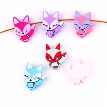 Free Shipping 20pcs Hot New Random Mixed Multicolor Cute Animal Fox Wood Beads Jewelry Fashion DIY Craft 23x28mm