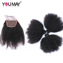 Mongolian Afro Kinky Curly Human Hair Bundles With Closure Human Hair 3 Weave Bundles 4 Pcs You May(China)