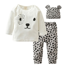 New 2017 Autumn Newborn Toddler Baby Boys Girls Clothes Long Sleeves Cartoon Animal Style Infant 3pcs Suit Toddler Clothing Set