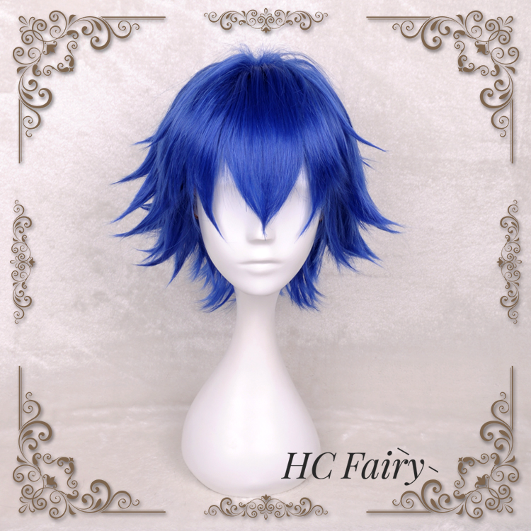 Anime Tokyo Ghoul Cosplay Wig Kirishima Ayato Blue Short Straight Synthetic Hair for Adult