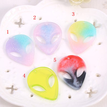 20pcs/lot Flatback Resin Aliens Cabochons Gradient Color Skull hair accessories for Headwear and Earring DIY 40*30mm(China)
