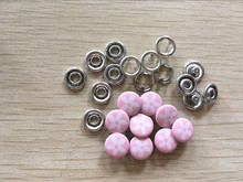High Quality PINK Flowr Print 100 Sets 9mm Cap Prong Ring Press Studs Snap Fasteners Baby Clothing Buttons