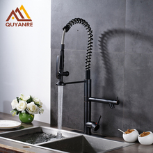 Black Color Kitchen Sink Faucet Dual Handle Dual Spout Bathroom Spring with Cold and Hot Pipes Faucet