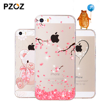 PZOZ For iphone 5se case Rhinestone glitter silicone cover original For iphone 5 s luxury 3D cute cartoon Shell For iphone 5S(China)
