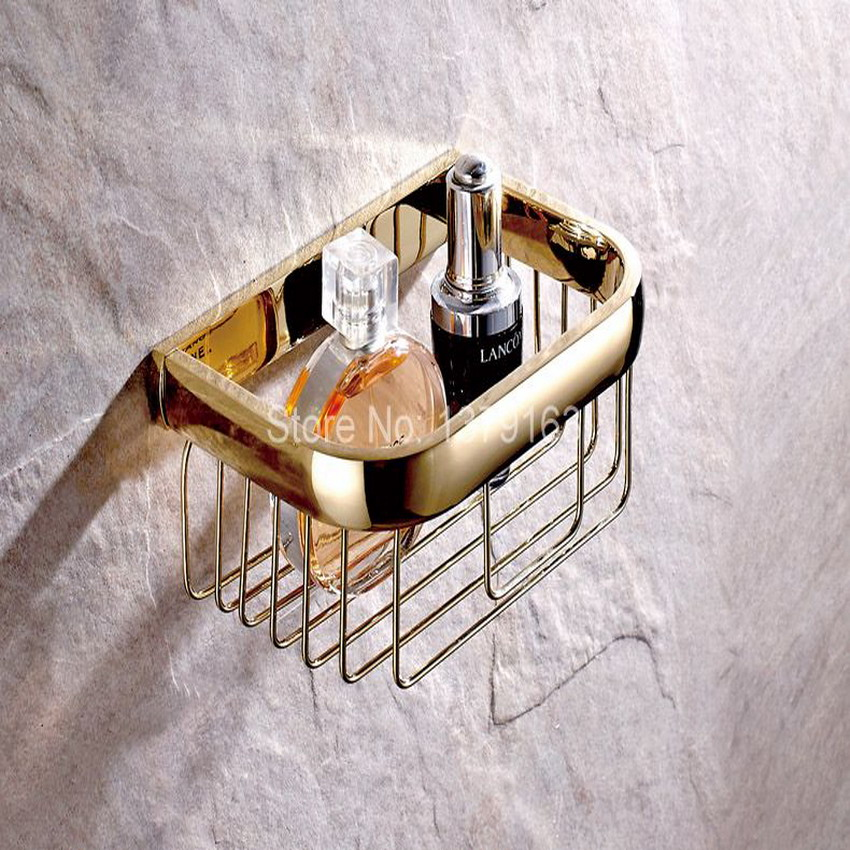 Bathroom Accessories Polished Gold Color Brass Wall Mounted Toilet Paper Roll Holder Bathroom Shower Storage Basket aba532<br>