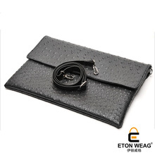 ETONWEAG New 2017 men brands ostrich leather black cover messenger bags business style document day clutch luxury organizer bag