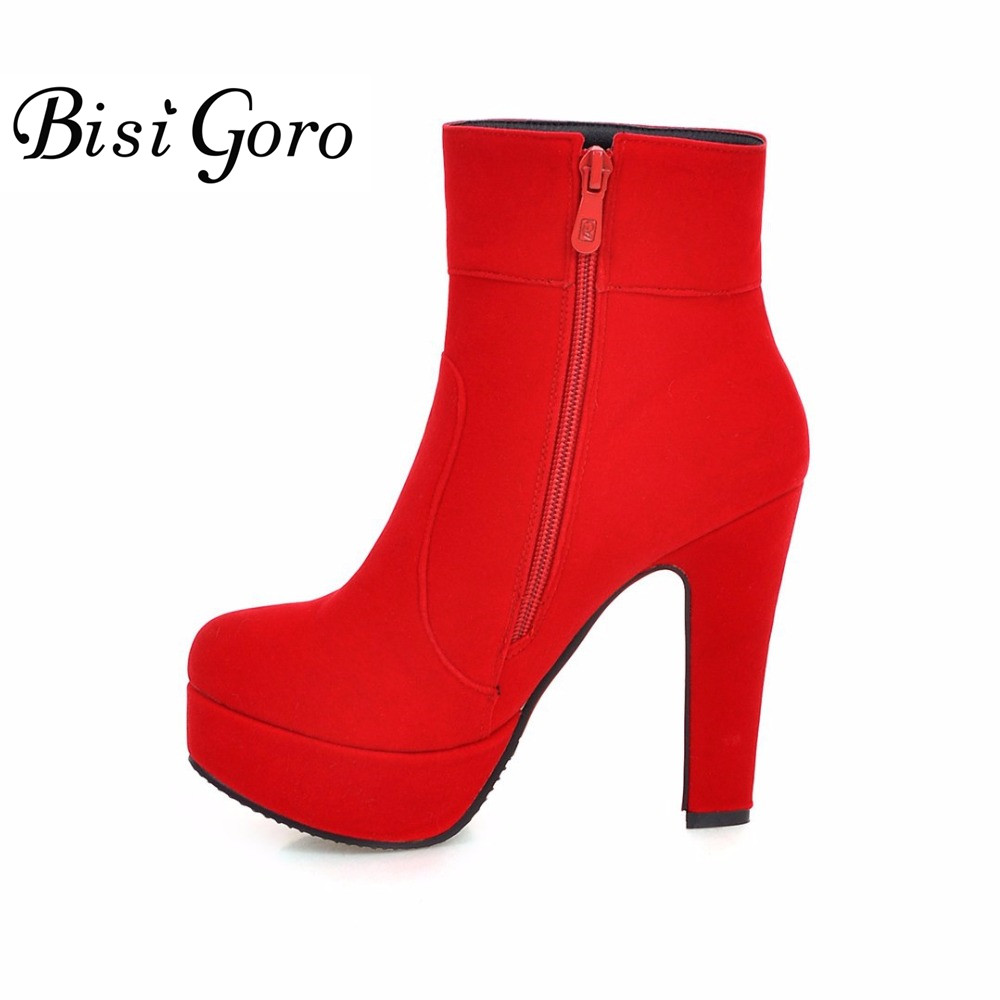 BISI GORO Fashion Women High Heel Boots Platform Autumn and Winter Shoes Woman Ladies Red Black Martin Boots Plus Size 34-47<br>