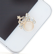 3D Silver Diamond Crystal Home Button Sticker For iPhone 4/5/5s/6 Apple Ipad Crown Shape