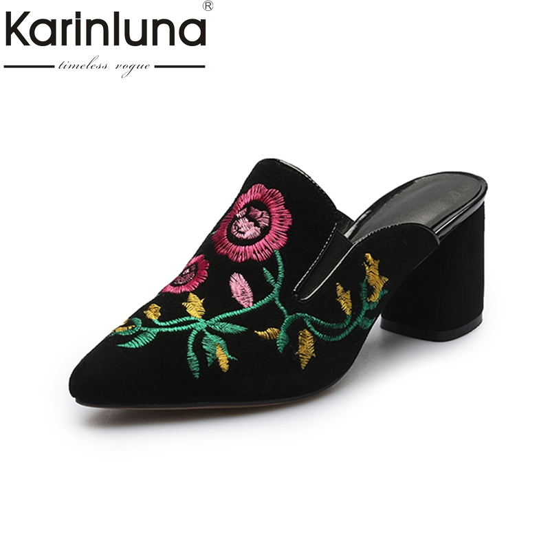 KARINLUNA Size 34-40 kid suede Vintage pointed Toe Women Mules Pumps Fashion Square Heels Slip On Leisure Shoes embroider<br>
