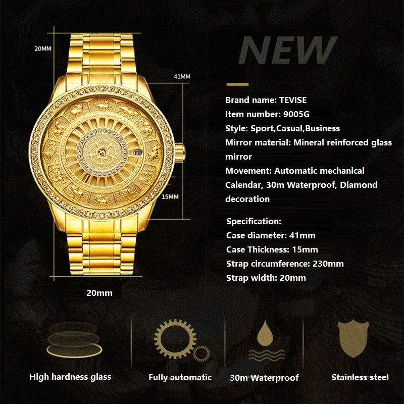 02018 New TEVISE Zodiac Signs Men Watch Automatic Mechanical Wristwatches Limited Edition Watch Men Gold Male Clock saat erkekler (2)