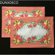 DUNXDECO Table Placemat Dinner Party Plate Cover Pad Mat Red Flora Art Print 2PCS Set Desk Accessories Cover Fabric