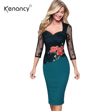 Kenancy Women Plus Size Pencil Dress Summer Autumn Elegant Embroidered Floral Lace Party Office Bodycon Dress Vestidos