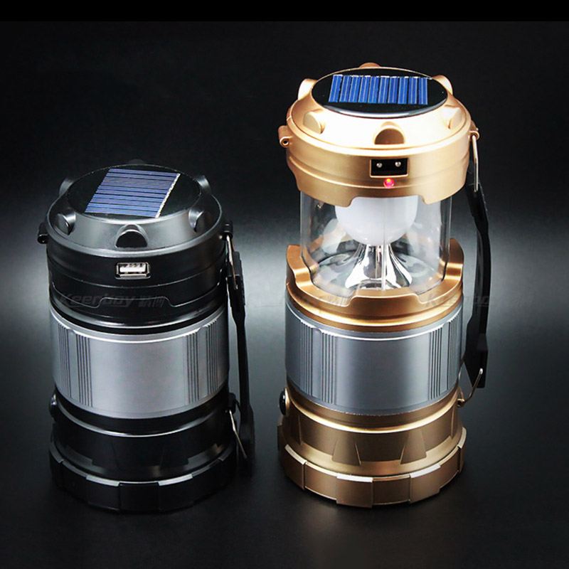 Solar Rechargeable Collapsible LED Camping Lantern Emergency Survival Lamp for Night Hiking Fishing Charging for Android Phone<br><br>Aliexpress