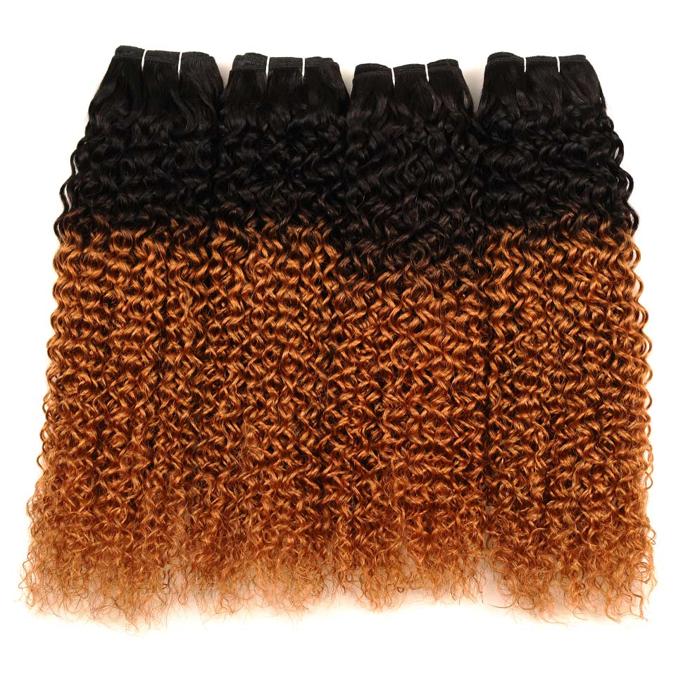 Pinshair Ombre Kinky Curly Hair Weave 4 Bundles 1B 30 Indian Kinky Curly 100 Human Hair Weaving Non Remy Non Remy Hair Extension (68)