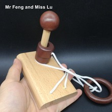 One Wooden Ring Single Column 3D Wooden Toy Kid String Rope Puzzle IQ Magic Trick Brain Teaser Mind Game Adult