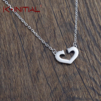 Kinitial 1Pcs 925 Silver Heart Necklace Heart Pendant Statement Chain Necklace Woman Lady Girl Gifts Bijoux Fashion Neck Jewelry