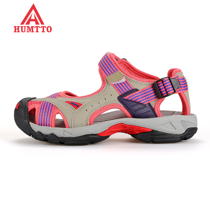 Top Quality Womens Summer Leather Outdoor Trekking Hiking Sandals Shoes For Women Wearabel Climbing Mountain Shoes Woman <br>