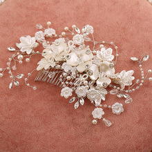 The new handmade pearl jewelry luxious beaded hair comb upscale inserted combs exquisite bridal accessories