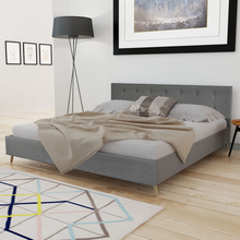 iKayaa modern design bed artificial leather solid high quality wood bedroom home furniture Grey ES Stock 200 x 180 cm